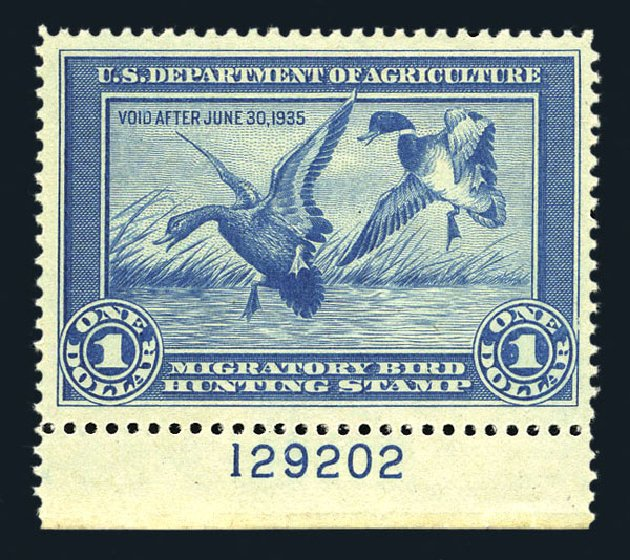 US Stamp Price Scott Catalog # RW1: US$1.00 1934 Federal Duck Hunting. Harmer-Schau Auction Galleries, Aug 2015, Sale 106, Lot 2231