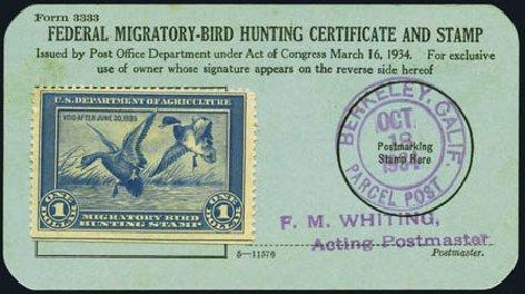 US Stamp Price Scott #RW1 - US$1.00 1934 Federal Duck Hunting. Harmer-Schau Auction Galleries, Aug 2012, Sale 94, Lot 1991