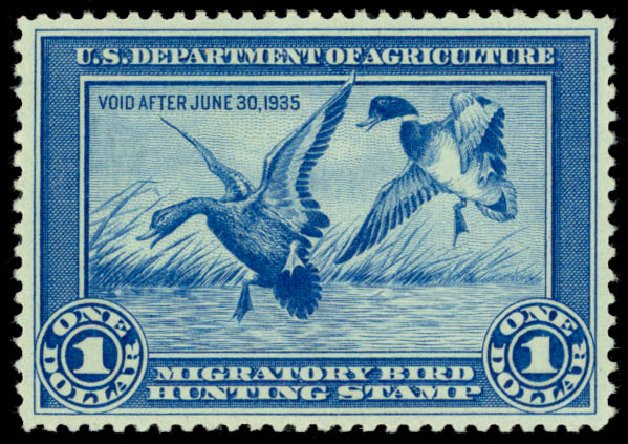 US Stamps Prices Scott Catalog # RW1 - 1934 US$1.00 Federal Duck Hunting. Daniel Kelleher Auctions, May 2014, Sale 653, Lot 2341