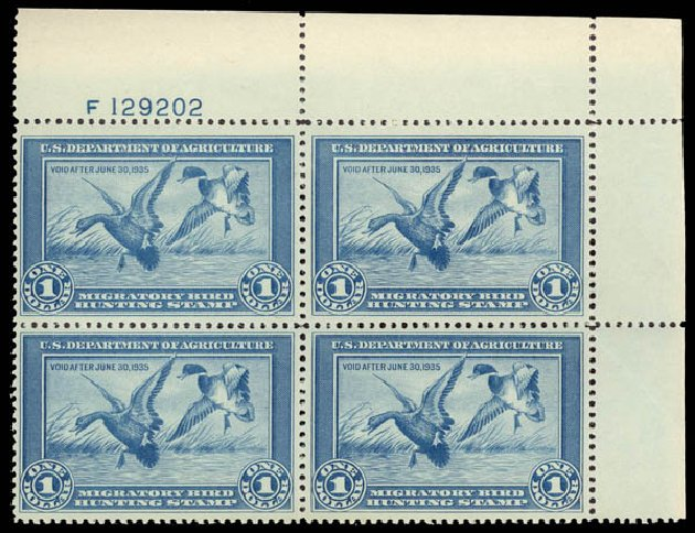 Prices of US Stamps Scott Cat. RW1: 1934 US$1.00 Federal Duck Hunting. Daniel Kelleher Auctions, May 2015, Sale 669, Lot 3571