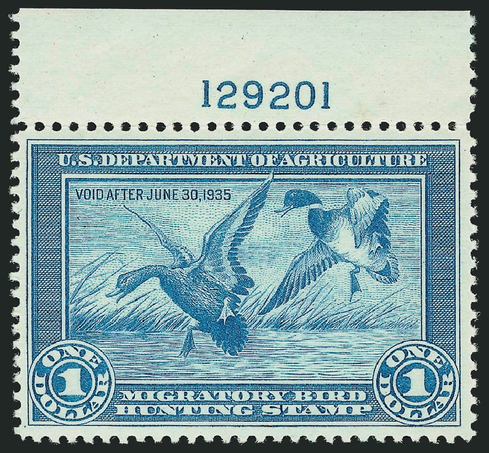 Values of US Stamp Scott Cat. #RW1: US$1.00 1934 Federal Duck Hunting. Robert Siegel Auction Galleries, Mar 2012, Sale 1019, Lot 1071
