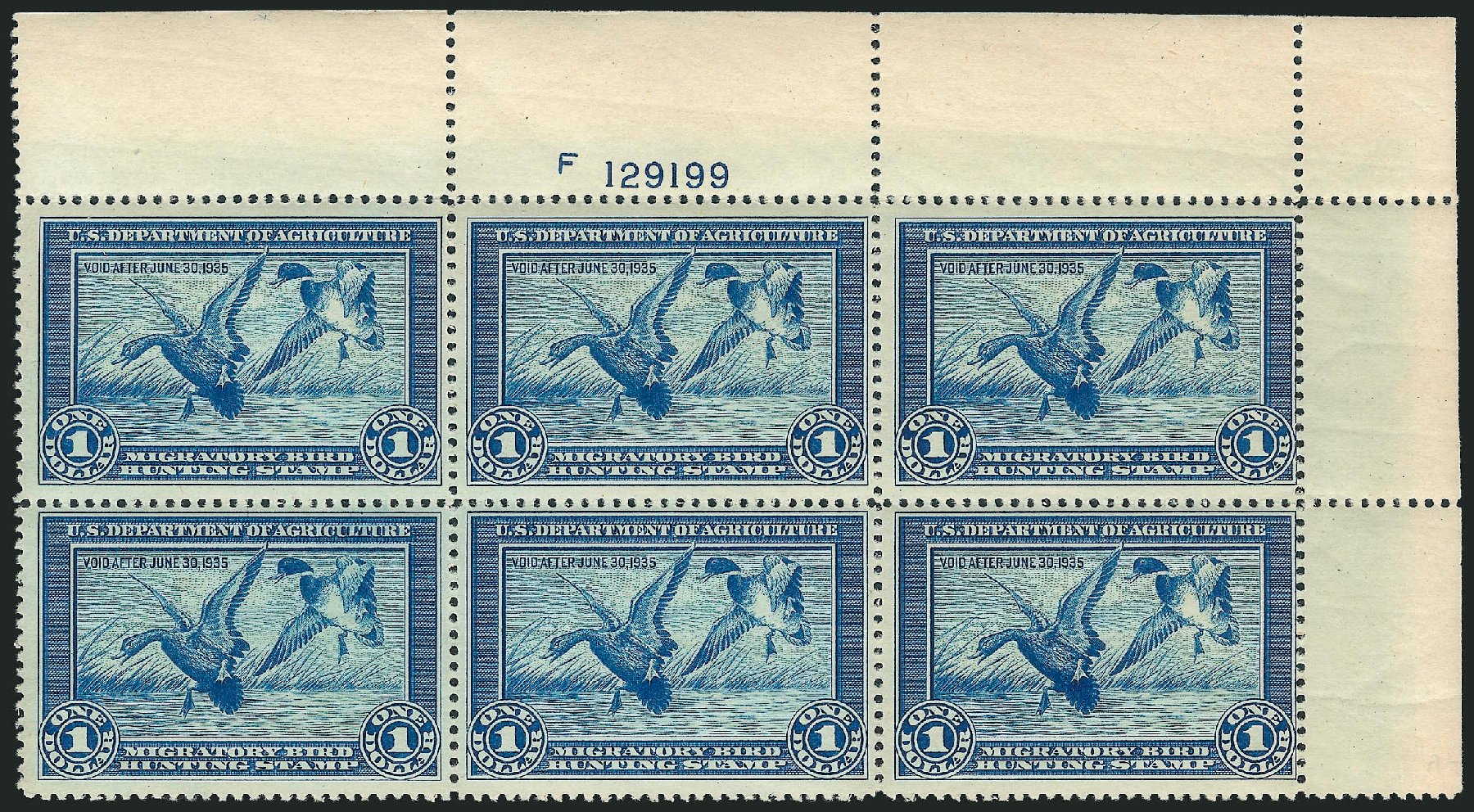 US Stamp Price Scott Catalogue # RW1: 1934 US$1.00 Federal Duck Hunting. Robert Siegel Auction Galleries, Apr 2014, Sale 1068, Lot 441