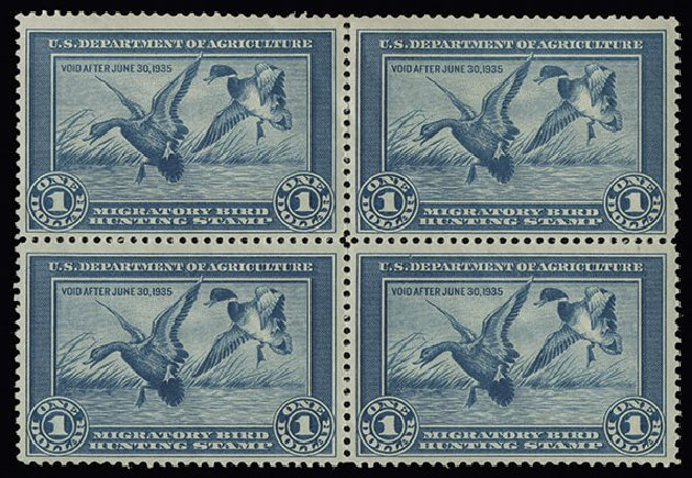 Prices of US Stamp Scott Catalogue #RW1 - US$1.00 1934 Federal Duck Hunting. Spink Shreves Galleries, Aug 2013, Sale 144, Lot 441