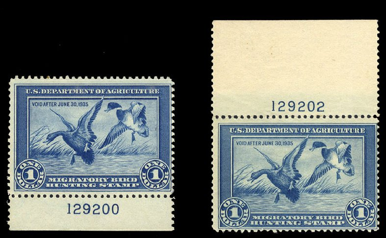 US Stamp Prices Scott # RW1 - 1934 US$1.00 Federal Duck Hunting. Cherrystone Auctions, Jan 2015, Sale 201501, Lot 224