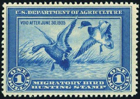 US Stamp Value Scott Catalogue #RW1: 1934 US$1.00 Federal Duck Hunting. Harmer-Schau Auction Galleries, Jan 2013, Sale 96, Lot 754