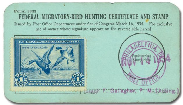 US Stamp Value Scott Cat. RW1 - US$1.00 1934 Federal Duck Hunting. Daniel Kelleher Auctions, Aug 2015, Sale 672, Lot 3104