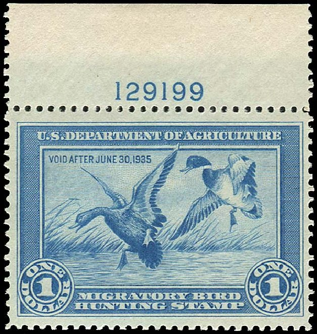 US Stamp Price Scott # RW1 - 1934 US$1.00 Federal Duck Hunting. Regency-Superior, Nov 2014, Sale 108, Lot 1624