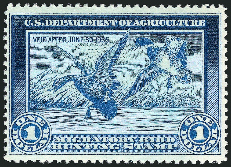 Price of US Stamp Scott # RW1: US$1.00 1934 Federal Duck Hunting. Robert Siegel Auction Galleries, Mar 2012, Sale 1019, Lot 1074