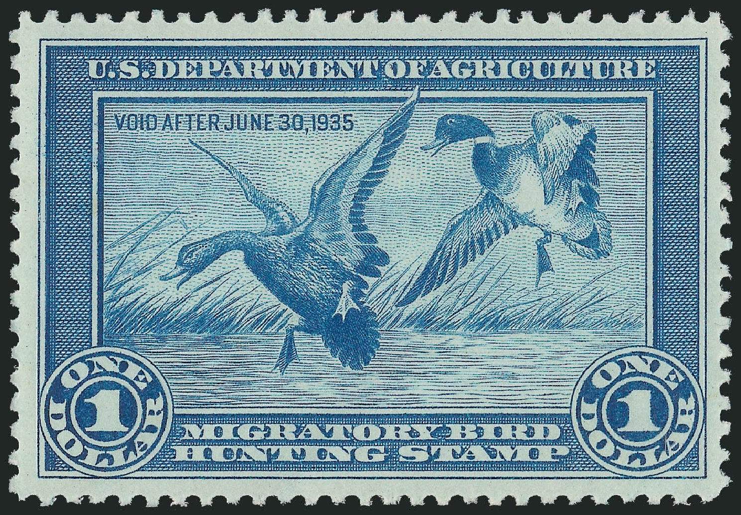 Cost of US Stamps Scott Catalog RW1: 1934 US$1.00 Federal Duck Hunting. Robert Siegel Auction Galleries, Nov 2013, Sale 1061, Lot 4504