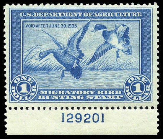US Stamps Value Scott Catalogue RW1: US$1.00 1934 Federal Duck Hunting. Matthew Bennett International, Mar 2011, Sale 337, Lot 3305