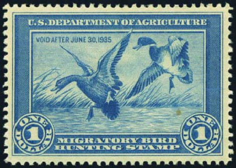 US Stamps Value Scott Catalogue # RW1: 1934 US$1.00 Federal Duck Hunting. Harmer-Schau Auction Galleries, May 2012, Sale 93, Lot 505