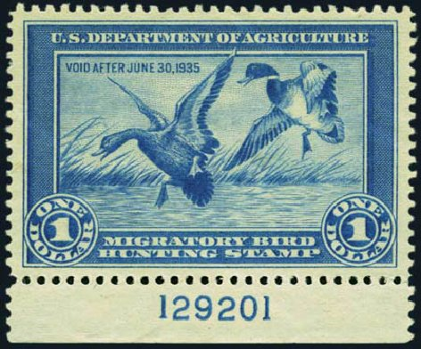 Price of US Stamp Scott Catalogue # RW1 - US$1.00 1934 Federal Duck Hunting. Harmer-Schau Auction Galleries, Jan 2013, Sale 96, Lot 755