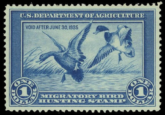 Costs of US Stamps Scott Catalogue # RW1 - US$1.00 1934 Federal Duck Hunting. Daniel Kelleher Auctions, Aug 2012, Sale 631, Lot 1845