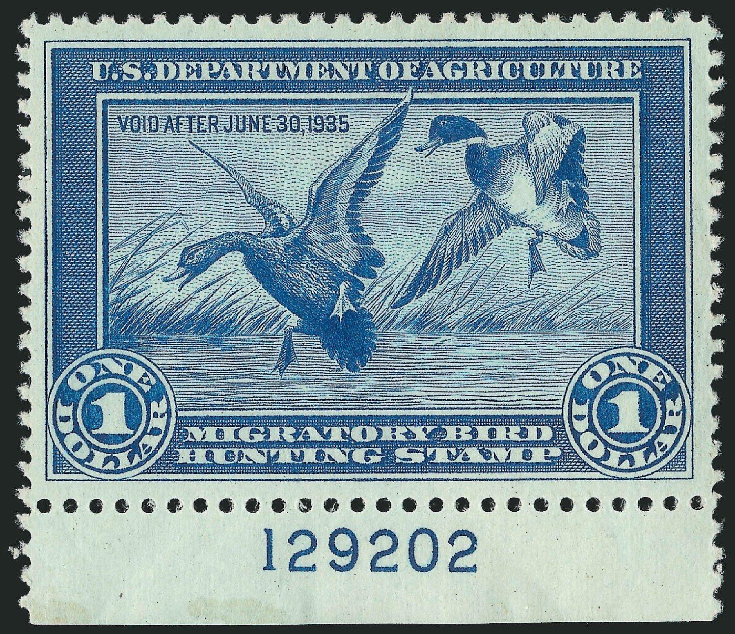 US Stamp Price Scott Cat. # RW1: US$1.00 1934 Federal Duck Hunting. Robert Siegel Auction Galleries, Nov 2013, Sale 1061, Lot 4505