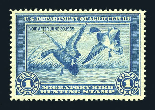 Values of US Stamps Scott Catalog # RW1 - 1934 US$1.00 Federal Duck Hunting. Harmer-Schau Auction Galleries, Aug 2015, Sale 106, Lot 2232