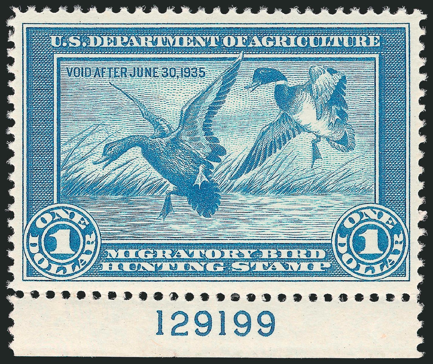 US Stamps Value Scott Catalog RW1 - 1934 US$1.00 Federal Duck Hunting. Robert Siegel Auction Galleries, Mar 2012, Sale 1019, Lot 1072