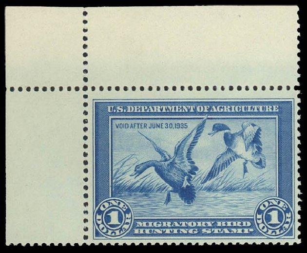 Values of US Stamp Scott Cat. #RW1: US$1.00 1934 Federal Duck Hunting. Daniel Kelleher Auctions, Oct 2012, Sale 632, Lot 1623