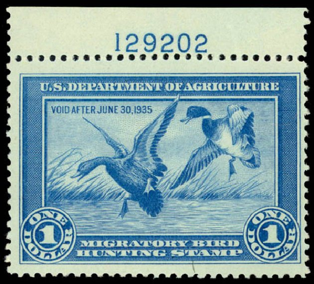Values of US Stamps Scott Cat. #RW1: 1934 US$1.00 Federal Duck Hunting. Daniel Kelleher Auctions, Dec 2014, Sale 661, Lot 483