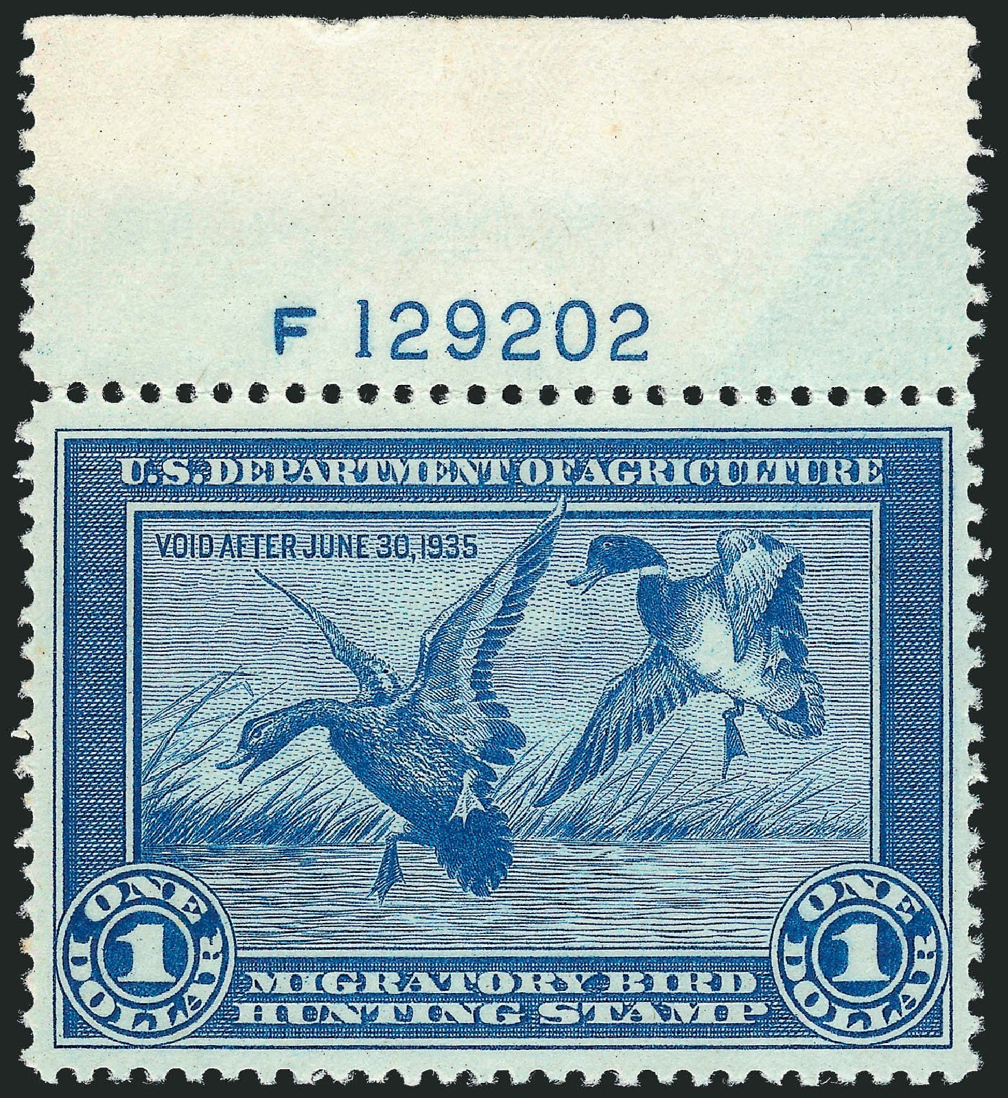 Value of US Stamp Scott Catalog # RW1: 1934 US$1.00 Federal Duck Hunting. Robert Siegel Auction Galleries, Mar 2012, Sale 1019, Lot 1073