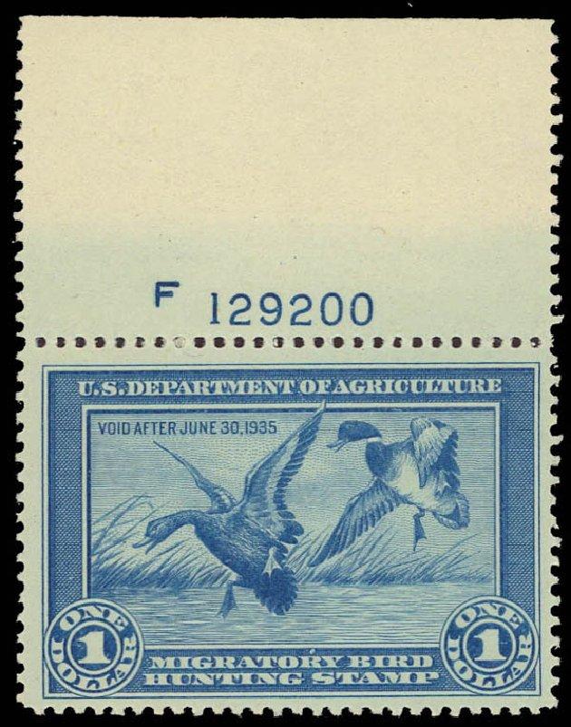 US Stamps Value Scott Catalogue RW1 - 1934 US$1.00 Federal Duck Hunting. Daniel Kelleher Auctions, Aug 2012, Sale 631, Lot 1846