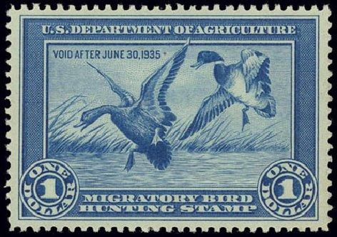 US Stamp Prices Scott Cat. #RW1: US$1.00 1934 Federal Duck Hunting. Daniel Kelleher Auctions, Feb 2013, Sale 634, Lot 446