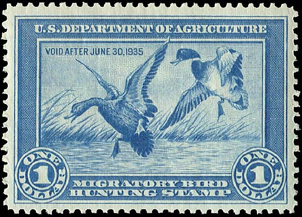 US Stamps Values Scott Catalogue RW1: US$1.00 1934 Federal Duck Hunting. Regency-Superior, Aug 2015, Sale 112, Lot 1636