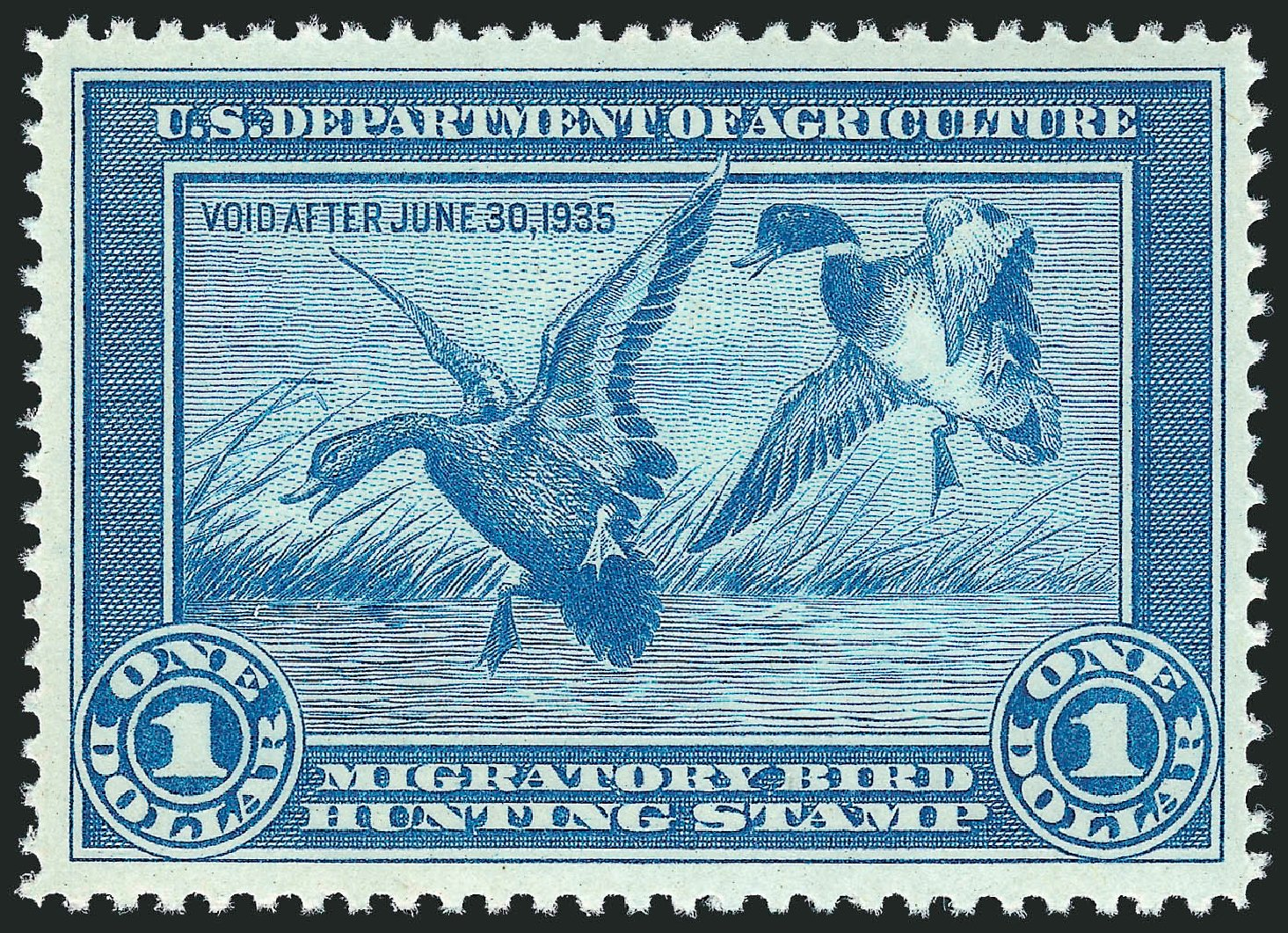 Values of US Stamps Scott Catalog RW1: 1934 US$1.00 Federal Duck Hunting. Robert Siegel Auction Galleries, Mar 2011, Sale 1007, Lot 3156