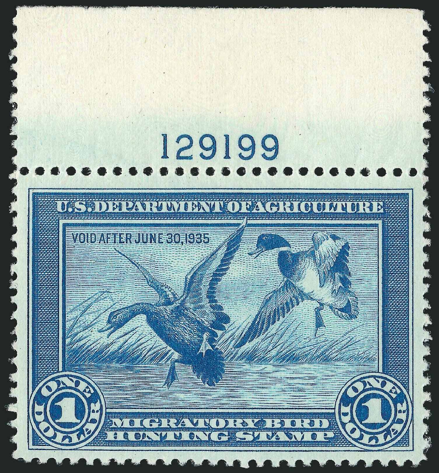 Prices of US Stamps Scott RW1 - 1934 US$1.00 Federal Duck Hunting. Robert Siegel Auction Galleries, Nov 2013, Sale 1061, Lot 4506