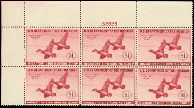 US Stamps Values Scott Catalogue RW10 - US$1.00 1943 Federal Duck Hunting. Daniel Kelleher Auctions, Oct 2012, Sale 632, Lot 1628