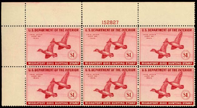 Price of US Stamps Scott # RW10: US$1.00 1943 Federal Duck Hunting. Daniel Kelleher Auctions, May 2014, Sale 653, Lot 2498