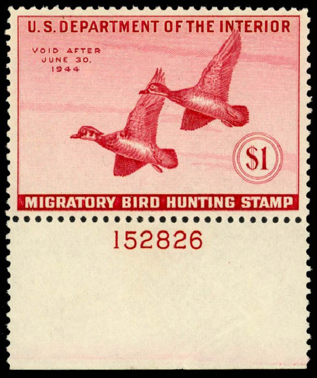 US Stamp Prices Scott Cat. #RW10: 1943 US$1.00 Federal Duck Hunting. Daniel Kelleher Auctions, Dec 2014, Sale 661, Lot 488