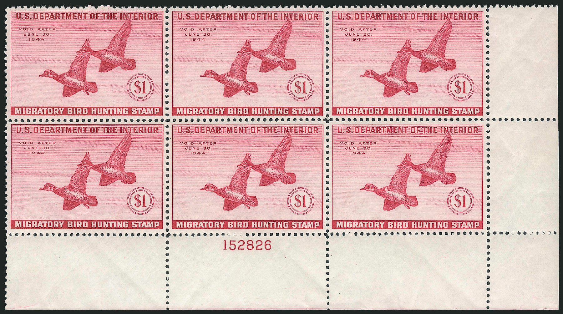 Values of US Stamp Scott #RW10: 1943 US$1.00 Federal Duck Hunting. Robert Siegel Auction Galleries, Oct 2011, Sale 1014, Lot 2498