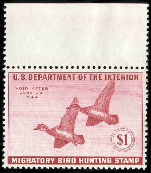 Cost of US Stamp Scott # RW10: US$1.00 1943 Federal Duck Hunting. Spink Shreves Galleries, Jul 2015, Sale 151, Lot 428