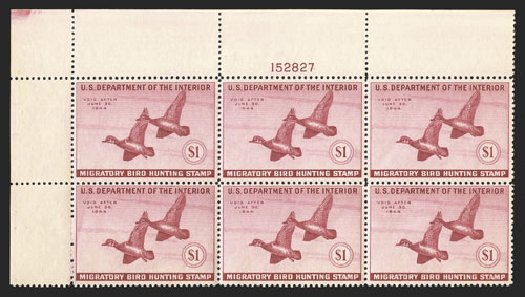 Prices of US Stamp Scott Catalogue RW10 - 1943 US$1.00 Federal Duck Hunting. Spink Shreves Galleries, Nov 2012, Sale 141, Lot 241