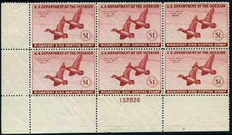 US Stamps Value Scott Cat. RW10: US$1.00 1943 Federal Duck Hunting. Harmer-Schau Auction Galleries, May 2013, Sale 97, Lot 464