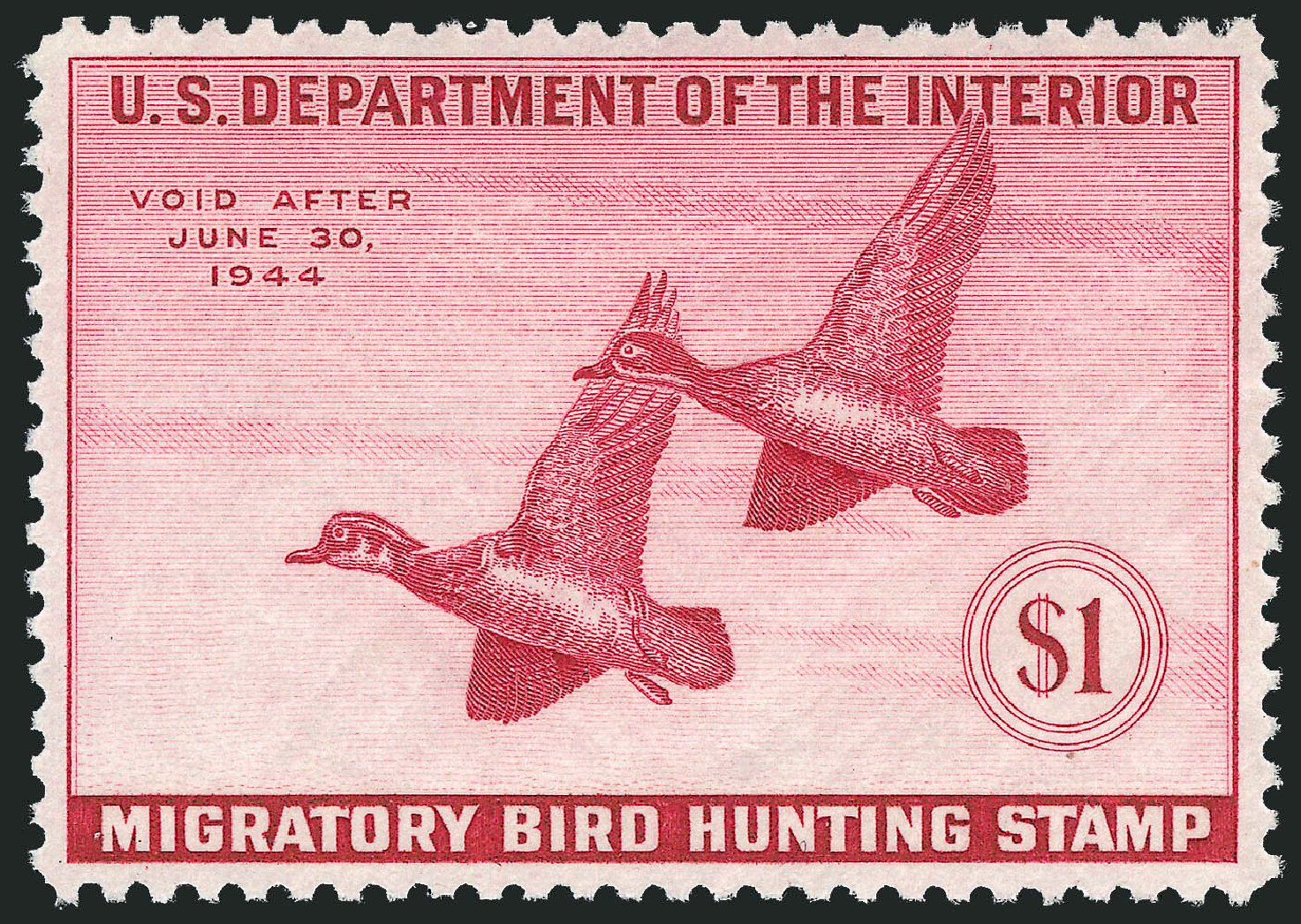 US Stamps Value Scott Catalog # RW10 - US$1.00 1943 Federal Duck Hunting. Robert Siegel Auction Galleries, Mar 2012, Sale 1019, Lot 1084