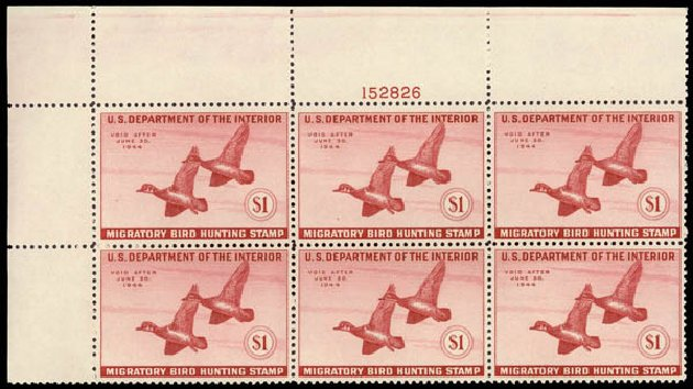 Values of US Stamp Scott Catalogue #RW10: US$1.00 1943 Federal Duck Hunting. Daniel Kelleher Auctions, May 2015, Sale 669, Lot 3585