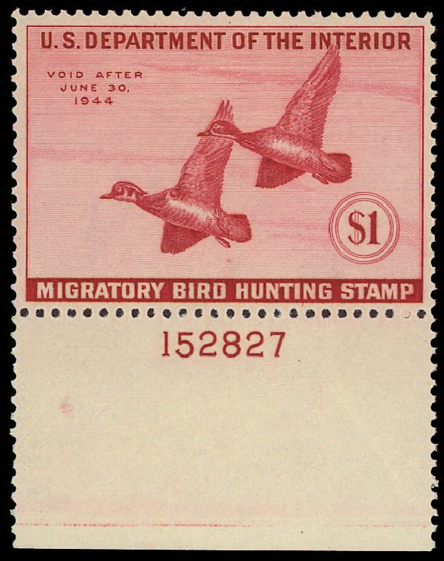 US Stamps Value Scott RW10 - US$1.00 1943 Federal Duck Hunting. Daniel Kelleher Auctions, Aug 2012, Sale 631, Lot 1872