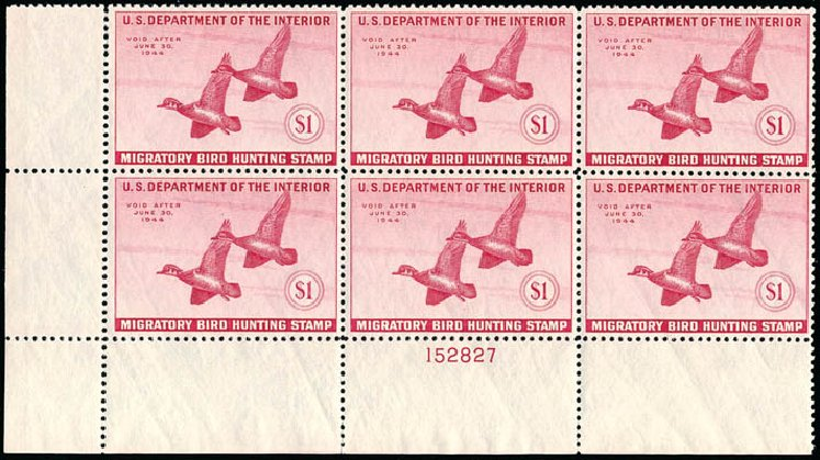 Price of US Stamps Scott Catalogue #RW10 - 1943 US$1.00 Federal Duck Hunting. Schuyler J. Rumsey Philatelic Auctions, Apr 2015, Sale 60, Lot 3013