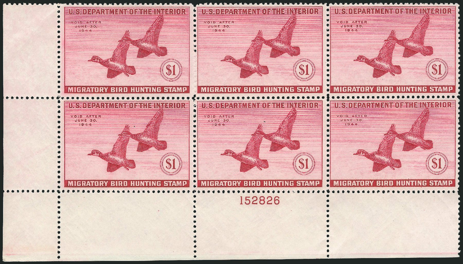 US Stamps Price Scott RW10: US$1.00 1943 Federal Duck Hunting. Robert Siegel Auction Galleries, Oct 2014, Sale 1082, Lot 546