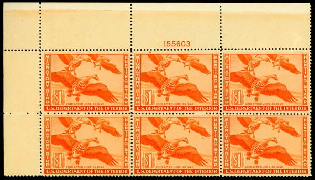 Cost of US Stamps Scott RW11: US$1.00 1944 Federal Duck Hunting. Daniel Kelleher Auctions, May 2014, Sale 653, Lot 2499