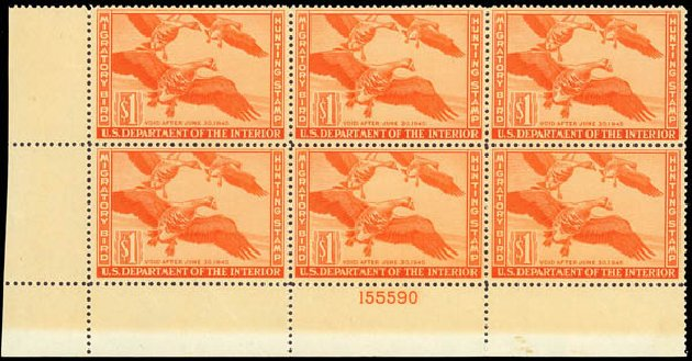 US Stamp Price Scott RW11 - US$1.00 1944 Federal Duck Hunting. Daniel Kelleher Auctions, Oct 2012, Sale 632, Lot 1630
