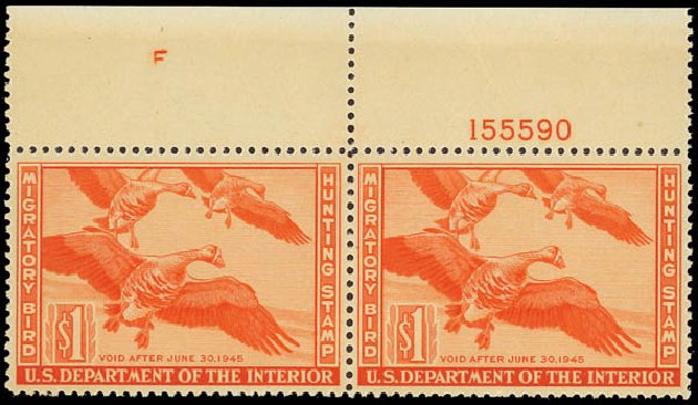 US Stamps Values Scott Catalogue RW11: 1944 US$1.00 Federal Duck Hunting. Daniel Kelleher Auctions, Jun 2012, Sale 630, Lot 2181