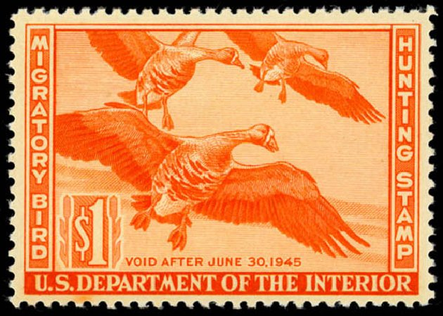 Prices of US Stamp Scott Catalog # RW11: US$1.00 1944 Federal Duck Hunting. Daniel Kelleher Auctions, May 2014, Sale 653, Lot 2351