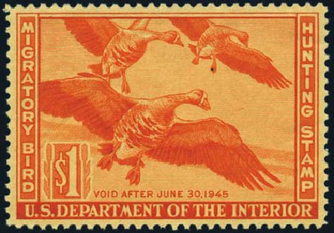 Cost of US Stamps Scott Cat. RW11: US$1.00 1944 Federal Duck Hunting. Harmer-Schau Auction Galleries, Jan 2013, Sale 96, Lot 764