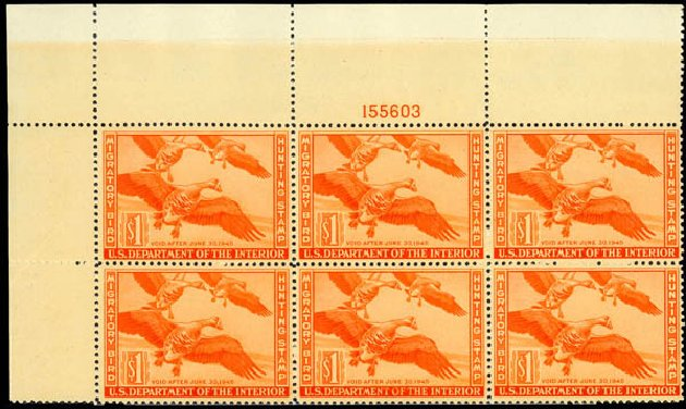 Cost of US Stamps Scott Cat. #RW11: 1944 US$1.00 Federal Duck Hunting. Daniel Kelleher Auctions, May 2014, Sale 652, Lot 1004