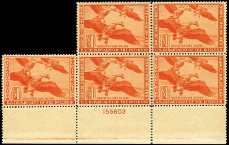 Prices of US Stamps Scott # RW11: US$1.00 1944 Federal Duck Hunting. Harmer-Schau Auction Galleries, Jan 2013, Sale 96, Lot 765