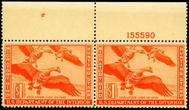 Value of US Stamps Scott Cat. # RW11: 1944 US$1.00 Federal Duck Hunting. Daniel Kelleher Auctions, Dec 2012, Sale 633, Lot 1142