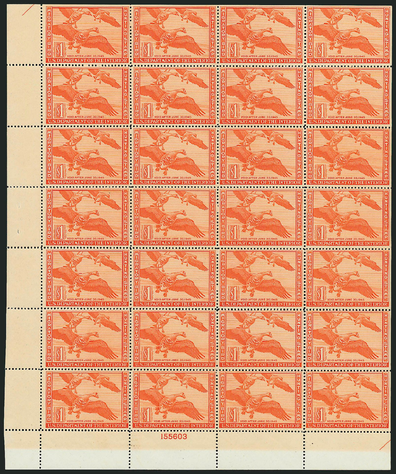 US Stamps Values Scott Catalog RW11: US$1.00 1944 Federal Duck Hunting. Robert Siegel Auction Galleries, Apr 2014, Sale 1068, Lot 452