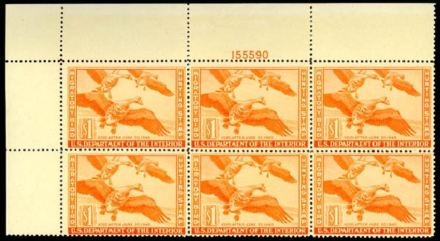 Costs of US Stamp Scott Catalogue # RW11 - 1944 US$1.00 Federal Duck Hunting. Daniel Kelleher Auctions, May 2014, Sale 652, Lot 1003